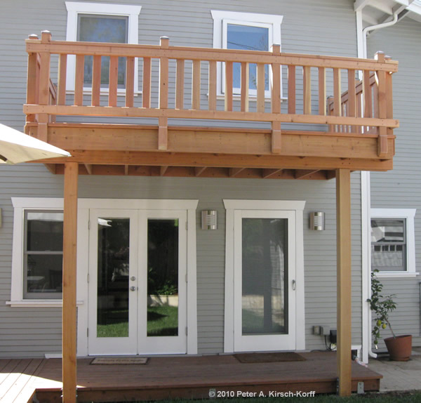 Second Story Wood Deck With Railing West Hollywood Ca