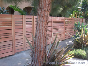 West Los Angeles Redwood Fence Modern Horizontal Style Before Staining
