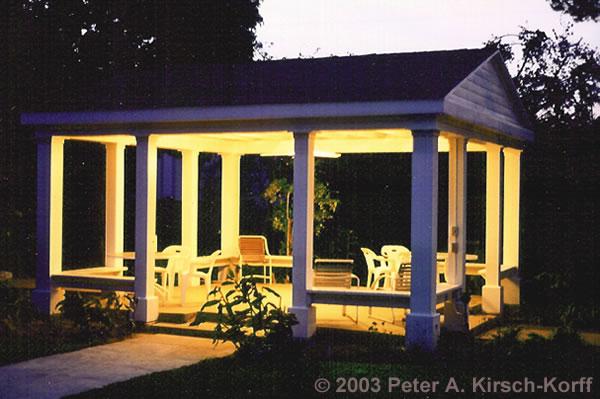 Classic Outdoor Garden Wood Pavilion at Dusk - South Pasadena /Los Angeles  California